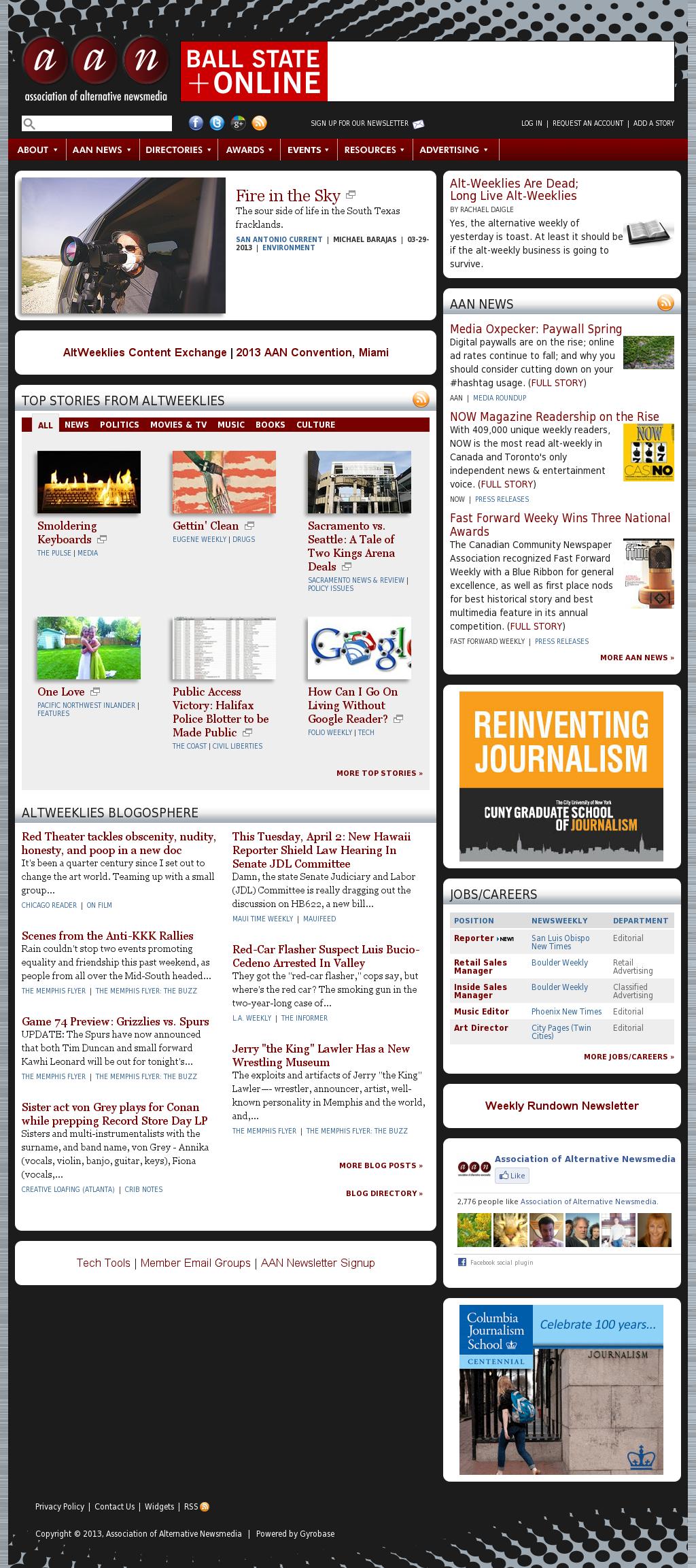 Association of Alternative Newsmedia at Tuesday April 2, 2013, 2 a.m. UTC