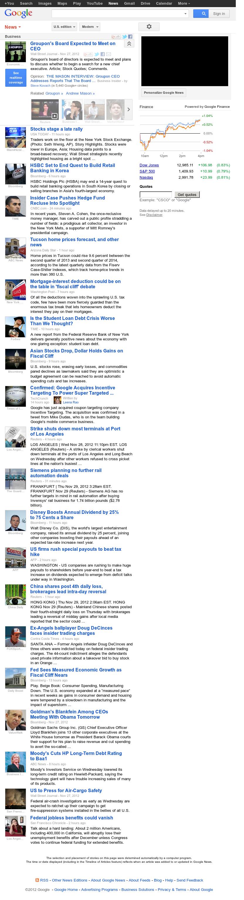 Google News: Business at Thursday Nov. 29, 2012, 9:14 a.m. UTC