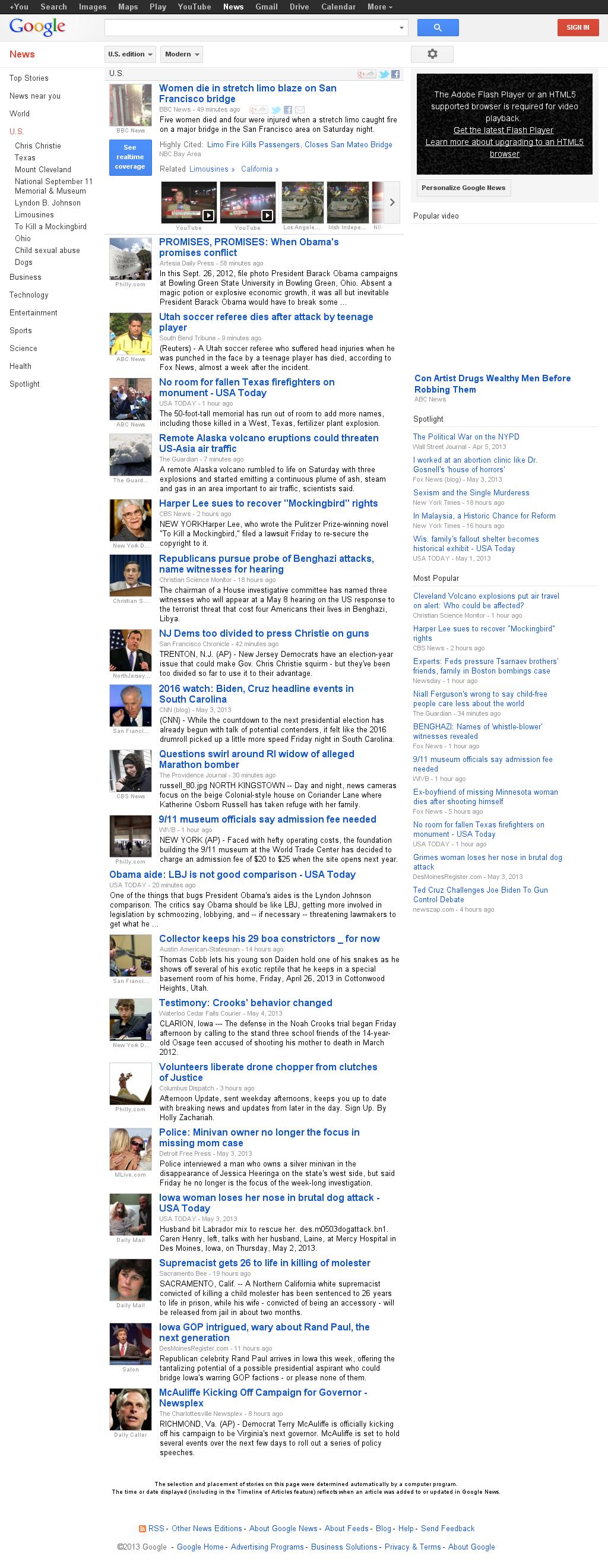 Google News: U.S. at Sunday May 5, 2013, 2:09 p.m. UTC