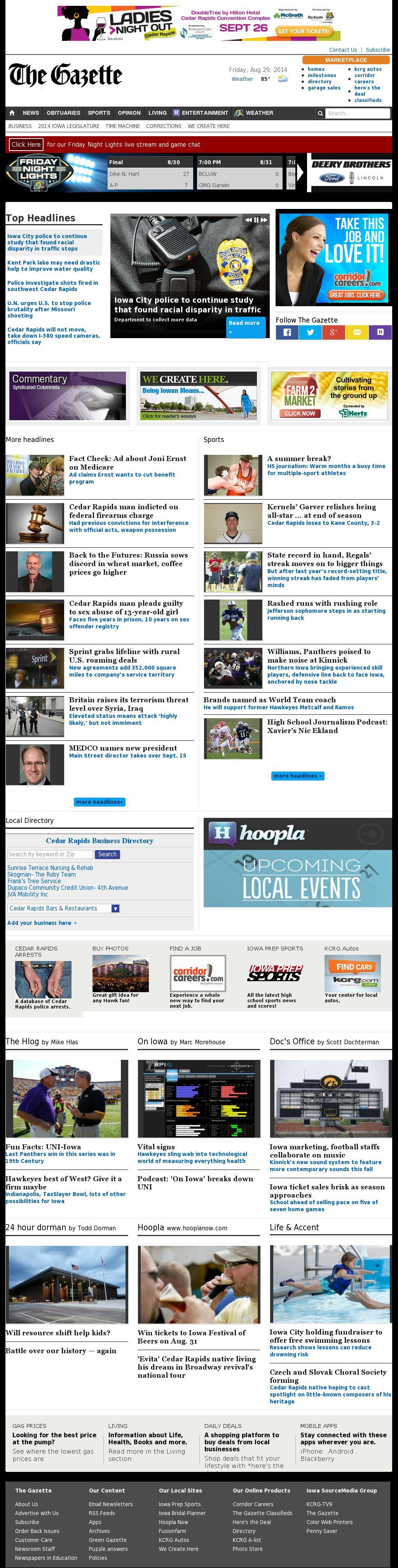 The (Cedar Rapids) Gazette at Friday Aug. 29, 2014, 10:05 p.m. UTC