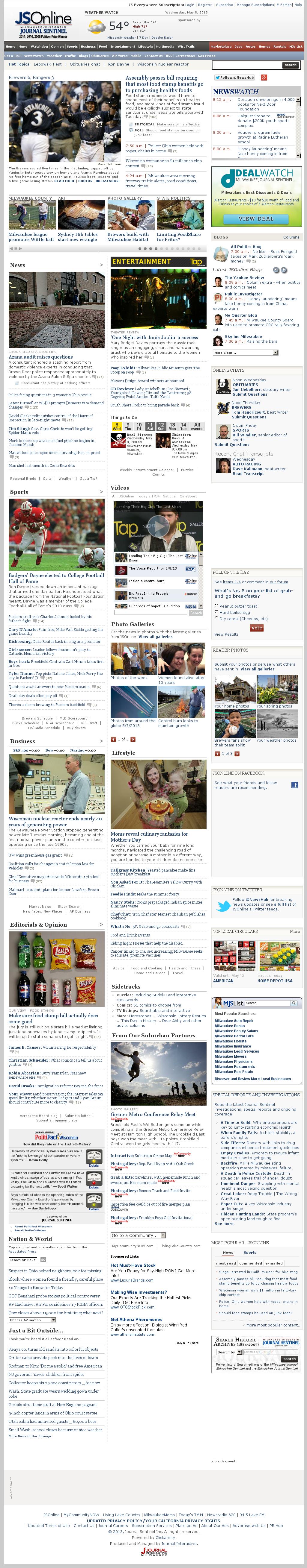 Milwaukee Journal Sentinel at Wednesday May 8, 2013, 1:16 p.m. UTC