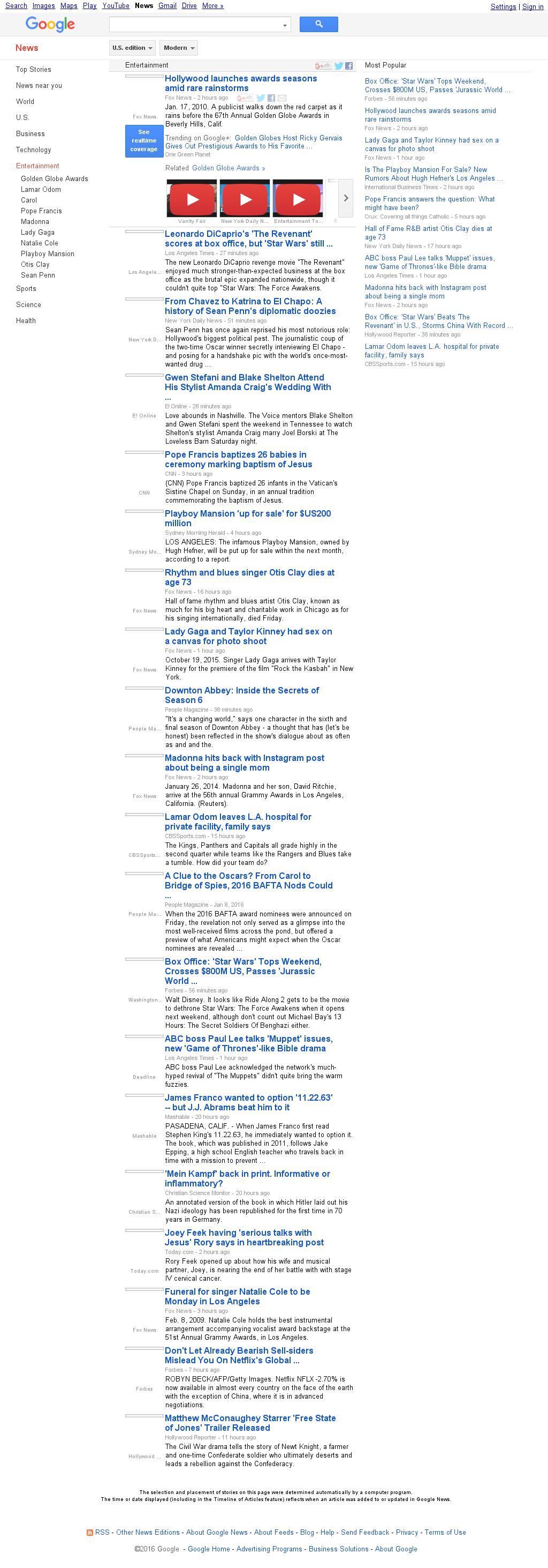 Google News: Entertainment at Sunday Jan. 10, 2016, 5:09 p.m. UTC