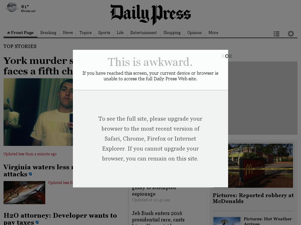 (Hampton Roads) Daily Press at Tuesday June 16, 2015, 3:04 a.m. UTC