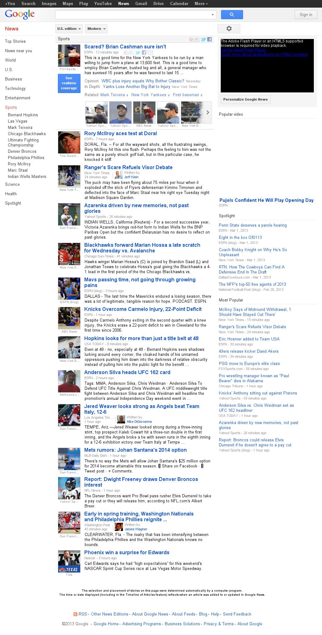 Google News: Sports at Thursday March 7, 2013, 2:07 a.m. UTC
