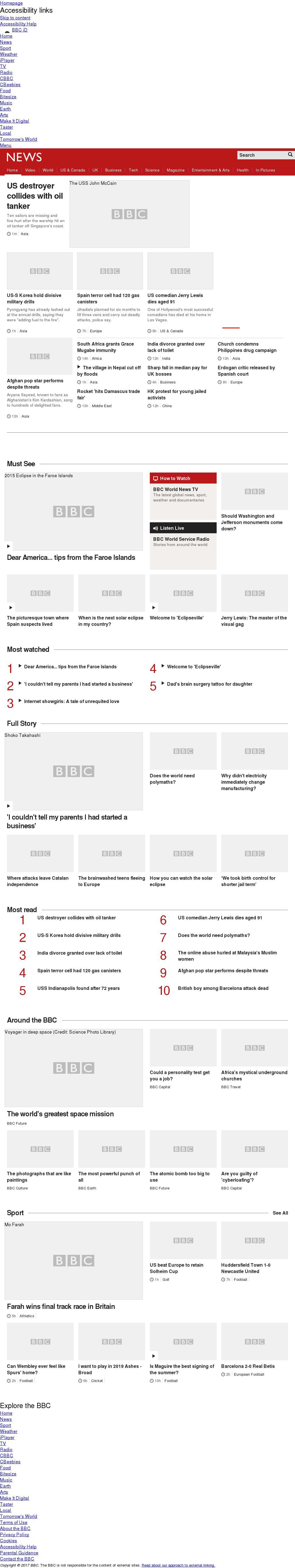 BBC at Monday Aug. 21, 2017, 3:01 a.m. UTC