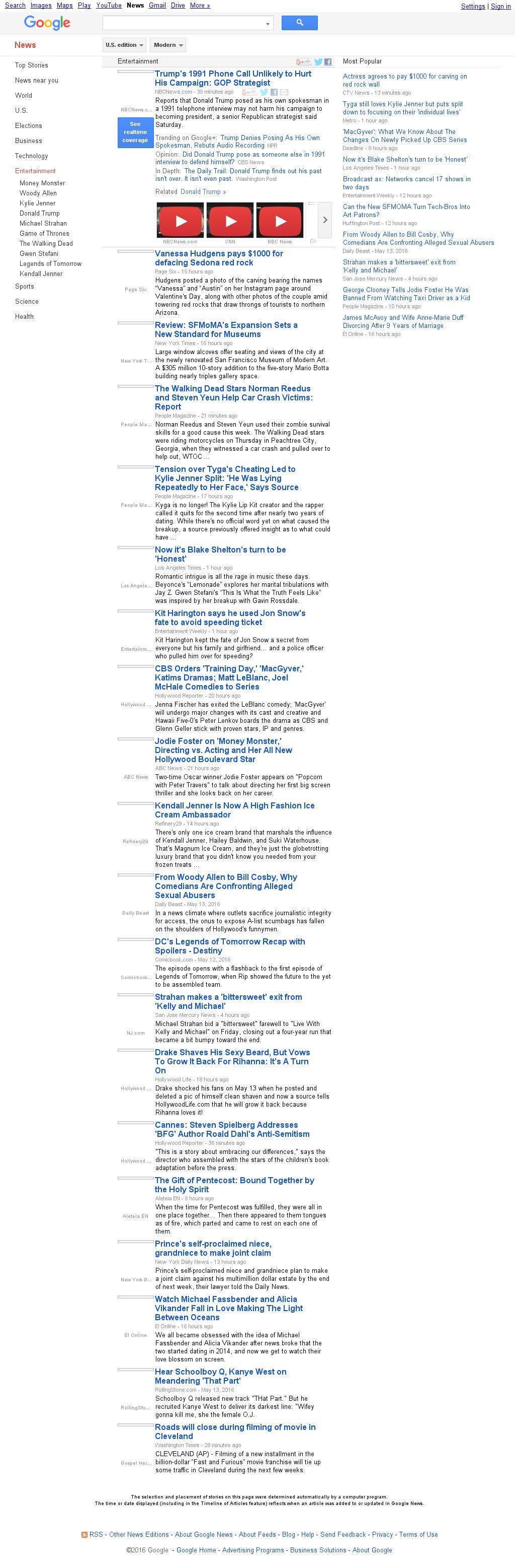 Google News: Entertainment at Saturday May 14, 2016, 2:06 p.m. UTC