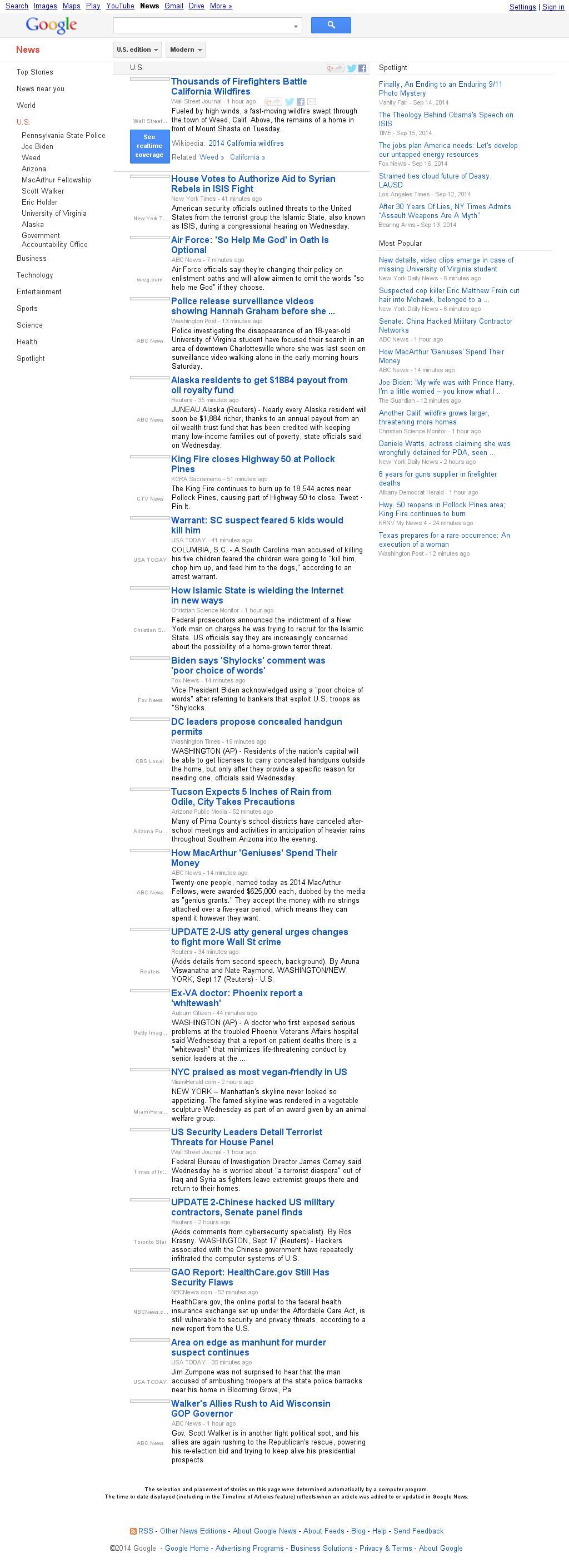 Google News: U.S. at Wednesday Sept. 17, 2014, 10:08 p.m. UTC