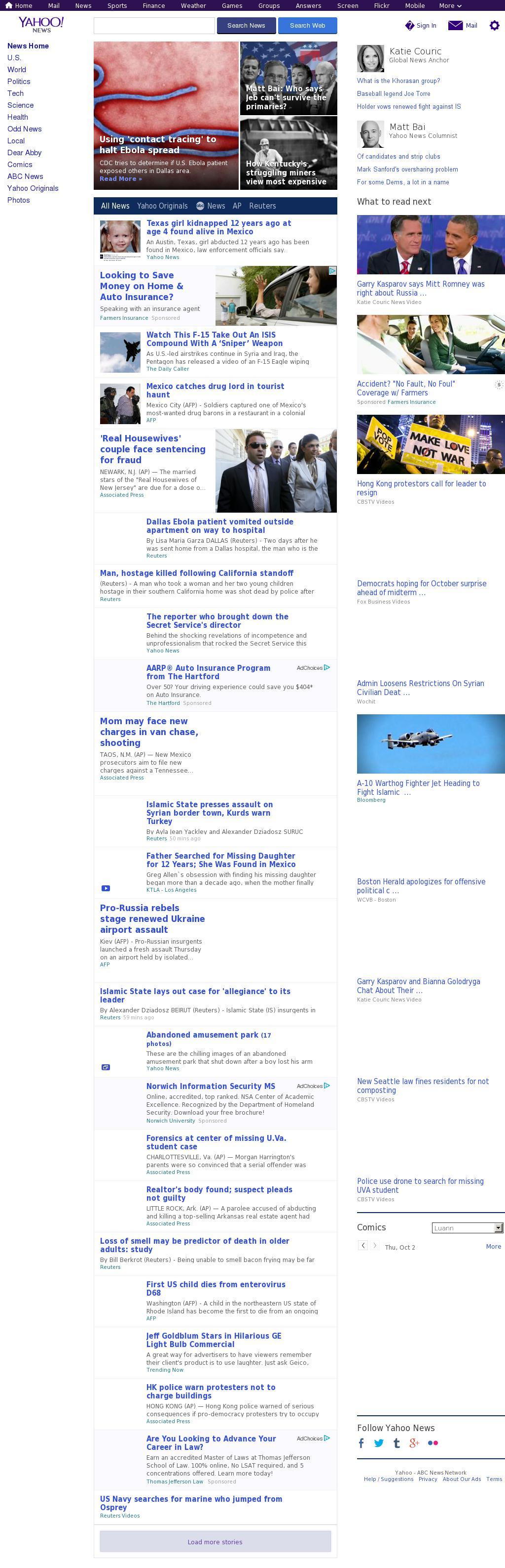 Yahoo! News at Thursday Oct. 2, 2014, 1:17 p.m. UTC
