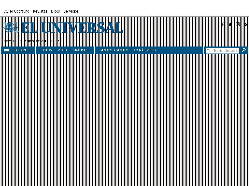 El Universal at Monday Oct. 16, 2017, 5:19 p.m. UTC