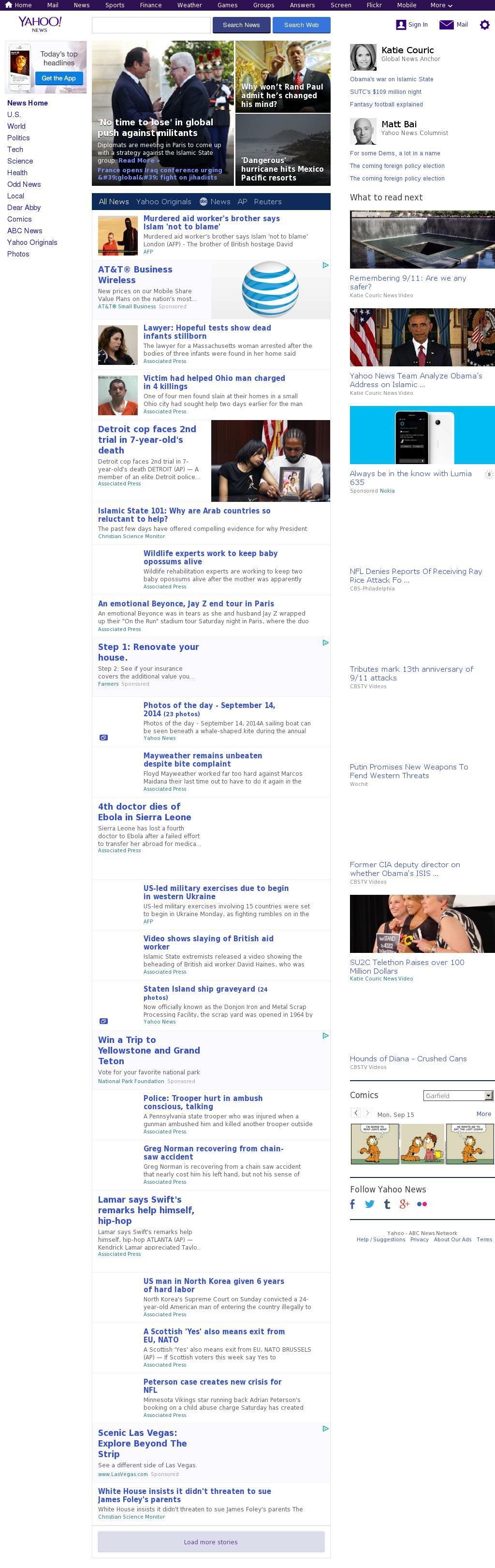 Yahoo! News at Monday Sept. 15, 2014, 9:21 a.m. UTC