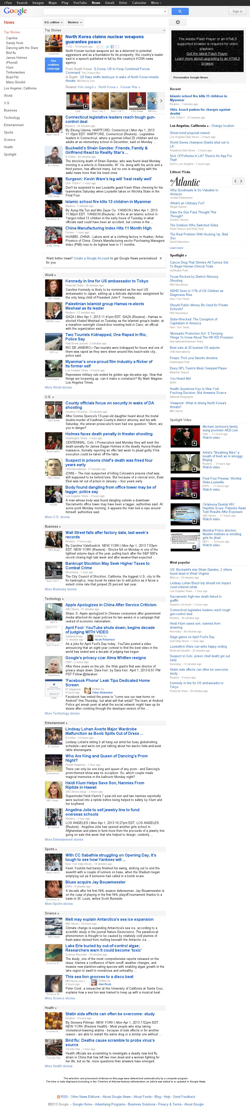 Google News at Tuesday April 2, 2013, 4:07 a.m. UTC