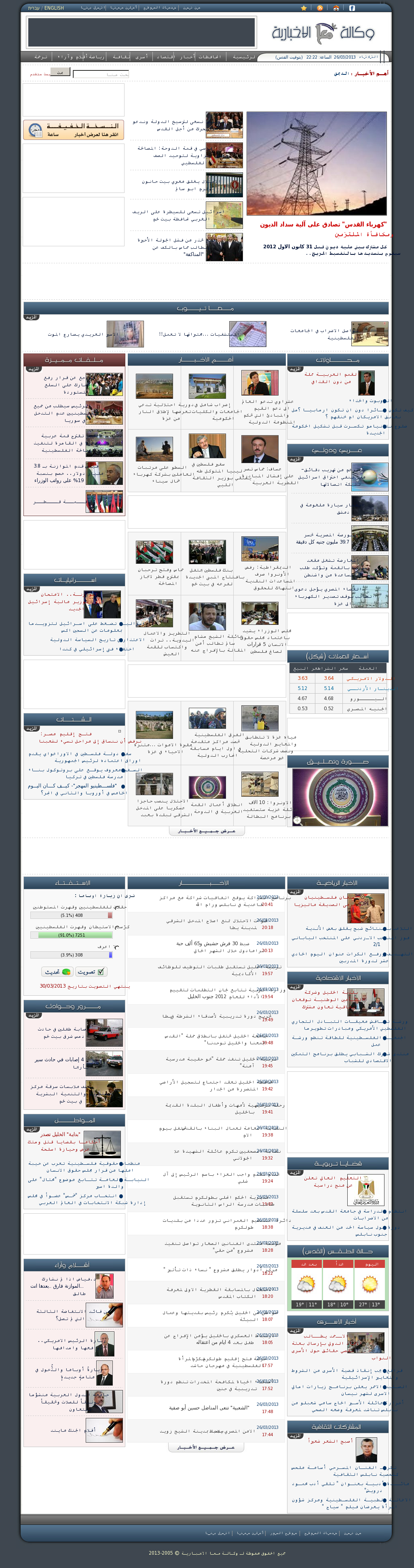 Ma'an News at Tuesday March 26, 2013, 8:22 p.m. UTC