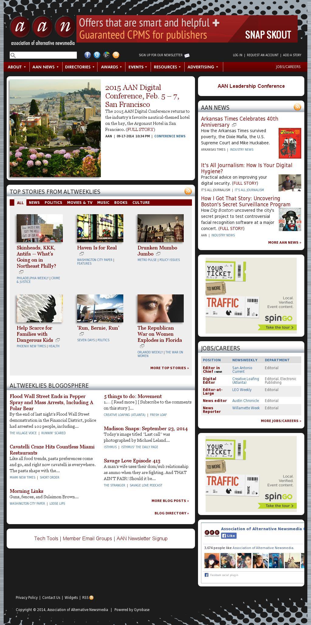 Association of Alternative Newsmedia at Tuesday Sept. 23, 2014, 4 p.m. UTC