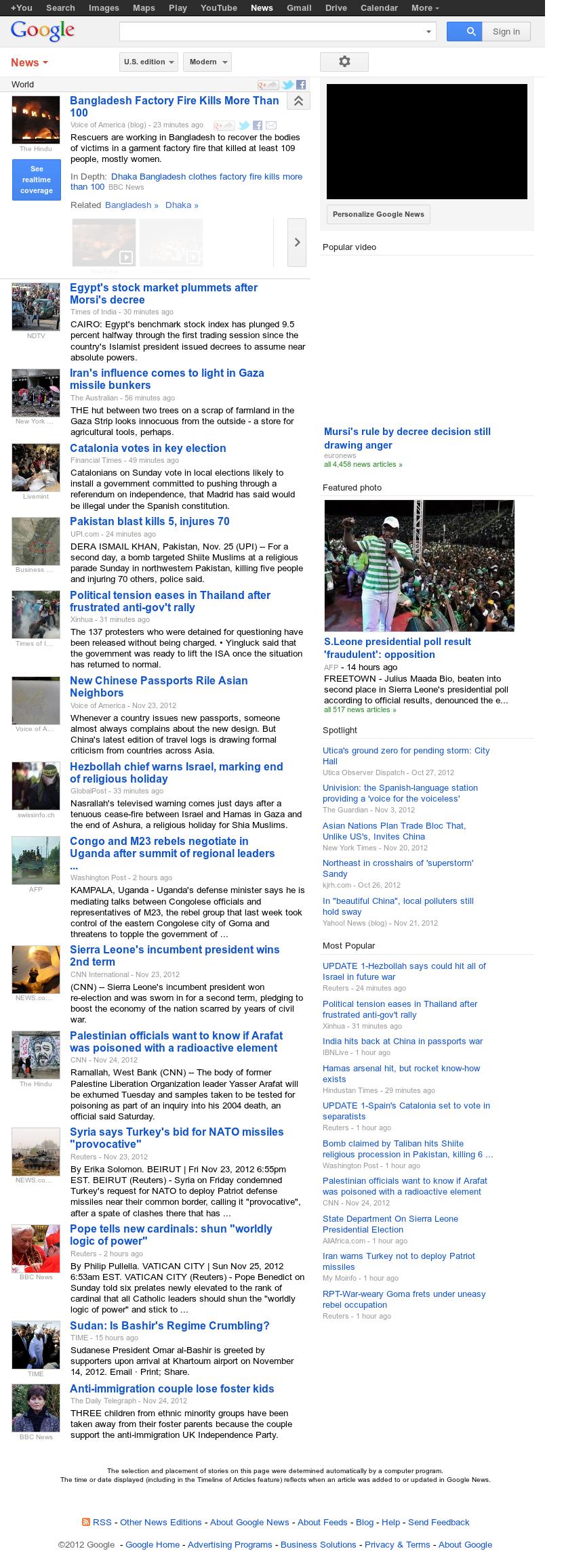 Google News: World at Sunday Nov. 25, 2012, 2:12 p.m. UTC