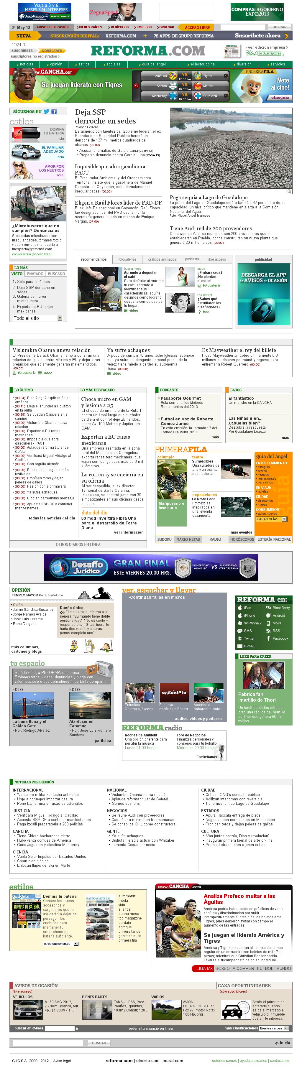 Reforma.com at Saturday May 4, 2013, 1:24 p.m. UTC
