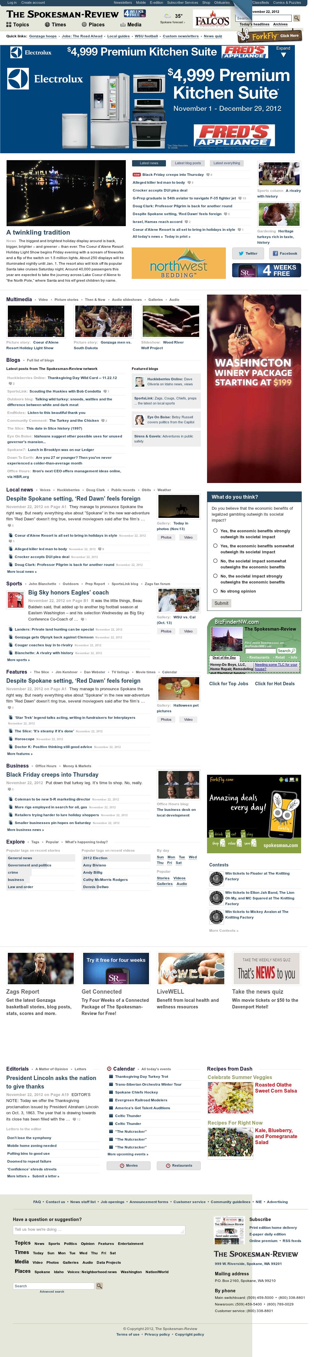 The (Spokane) Spokesman-Review at Thursday Nov. 22, 2012, 7:29 p.m. UTC